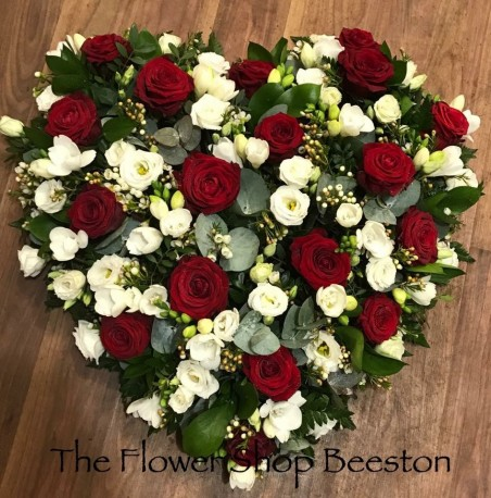 Red Rose, Freesia and Lizzianthus Heart