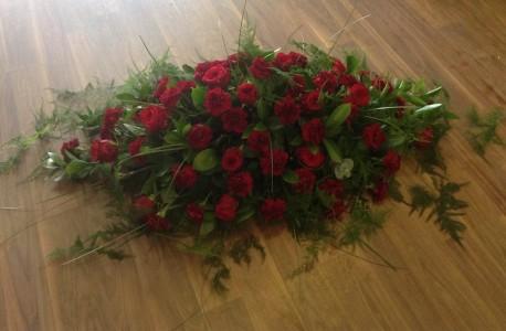 Red Rose and Carnation Casket Spray