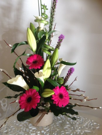 Hot pink and White Arrangement