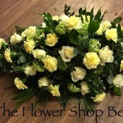 Lemon and White Carnation and Rose Casket Spray
