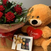 12 Red Rose, Large Teddy and Belgian Chocolates