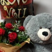 6 Red Rose Hand Tied, Large Teddy and Balloon