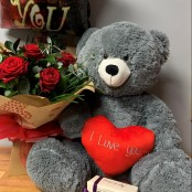 6 Red Rose Hand Tied, Large Teddy, Balloon and Kimberley's English Handmade Chocolates
