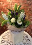 Contemporary White and Purple Hand Tied