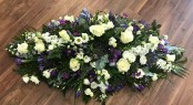 Purple and White Summer Casket Spray