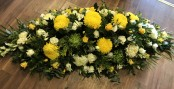 5ft Yellow and White Casket Spray